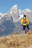 Man mountain biking in Grand Teton National Park, CA