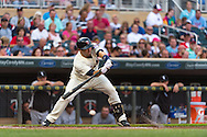 Brian Dozier #2 of the Minnesota Twins bats against the Chicago White Sox on June 19, 2013 at Target Field in Minneapolis, Minnesota.  The Twins defeated the White Sox 7 to 4.  Photo: Ben Krause
