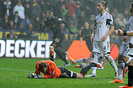 Swansea city keeper Gerhard Tremmel (on ground) and Chico Flores (4) are dejected as Man city's Yaya Toure celebrates after he scores his sides 2nd goal. Barclays Premier league, Swansea city v Manchester City at the Liberty Stadium in Swansea,  South Wales on  New years day Wed 1st Jan 2014 <br /> pic by Andrew Orchard, Andrew Orchard sports photography.