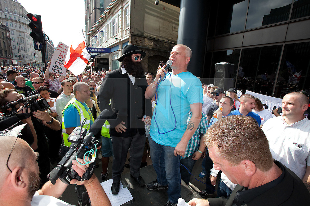 © licensed to London News Pictures. FILE PICTURE OF STEPHEN LENNON DRESSED UP AS A RABBI AT AN EDL RALLY IN LONDON, DATED 03/09/2011. UK 24/04/2012. Campaigning organisation Hope Not Hate report that EDL leader Stephen Yaxley Lennon (aka Tommy Robinson) is to be appointed deputy leader of the British Freedom Party. Please see special instructions for usage rates. Photo credit should read Joel Goodman/LNP