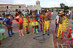 Young people in Carnival costumes in Havana; Cuba,