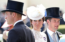 The Duke and Duchess of Cambridge in the Parade Ring before the start of the Kings Stand Stakes during day one of Royal Ascot at Ascot Racecourse.