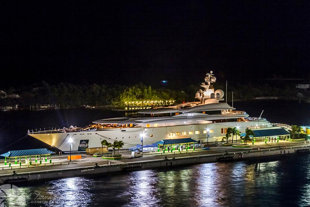 Night view of super Yacht at the docks along Nassau, Bahama