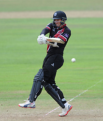 Somerset's Tom Cooper pulls the ball - Photo mandatory by-line: Harry Trump/JMP - Mobile: 07966 386802 - 29/07/15 - SPORT - CRICKET - Somerset v Durham - Royal London One Day Cup - The County Ground, Taunton, England.