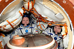 Handout photo. ESA astronaut Thomas Pesquet (right) with commander Oleg Novitsky in their Soyuz MS-03 spacecraft docked to the International Space Station at the end of his six-month Proxima mission. May 31st 2017. Photo by Nasa/ESA/ABACAPRESS.COM