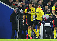 Watford's Abdoulaye Doucoure celebrates with Watford's head coach Nigel Pearson after scoring the opening goal during the Premier League match at the American Express Community Stadium, Brighton and Hove. Picture date: 8th February 2020. Picture credit should read: Paul Terry/Sportimage