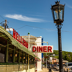 Wellsboro, PA - July 26, 2016: The Wellsboro Diner is a landmark on Route 6 in the downtown area that features authentic gas street lamps.