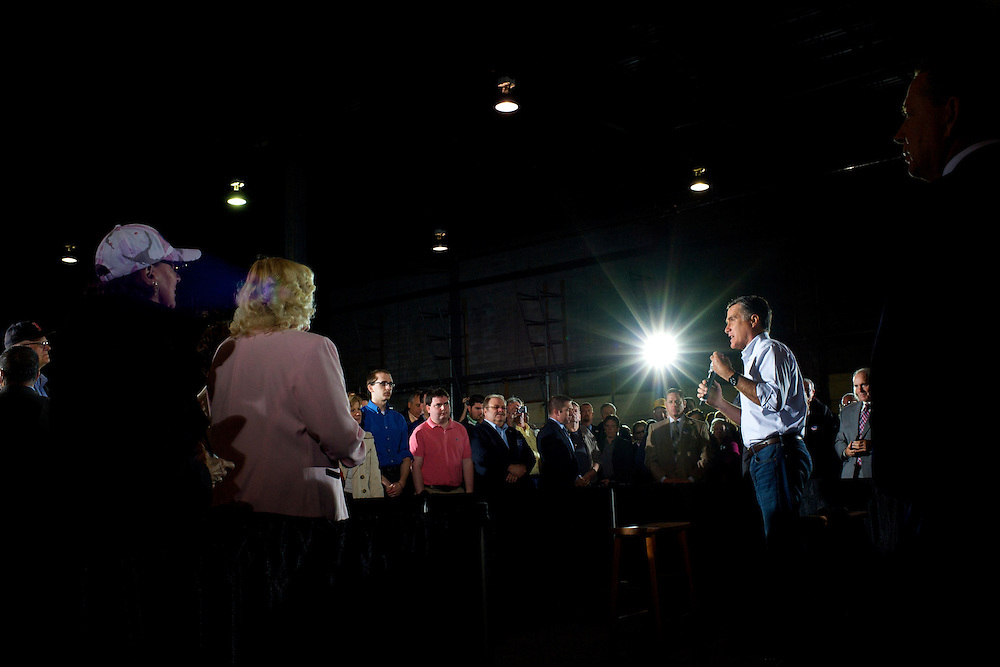 U.S. Republican presidential candidate, former Massachusetts Governor Mitt Romney, holds a rally with Florida Senator Marco Rubio at Mustang Expediting in Aston, Pennsylvania on April 23, 2012.