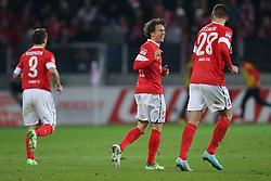 15.12.2012, Coface Arena, Mainz, GER, 1. FBL, 1. FSV Mainz 05 vs VfB Stuttgart, 17. Runde, im Bild Jubel Mainz - Ausgleich zum 1-1 durch Nicolai MUELLER - MULLER (FSV Mainz 05 - 27) MITTE -links Zdenek POS PECH (FSV Mainz 05 - 3) - rechts Adam SZALAI (FSV Mainz 05 - 28) // during the German Bundesliga 17th round match between 1. FSV Mainz 05 and VfB Stuttgart at the Coface Arena, Mainz, Germany on 2012/12/15. EXPA Pictures © 2012, PhotoCredit: EXPA/ Eibner/ Gerry Schmit..***** ATTENTION - OUT OF GER *****