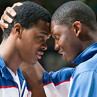 27 August 2011: Mickael Gelabale and Kevin Seraphin are seen during the friendly game won 74-44 by France over Belgium, in Lievin, France.
