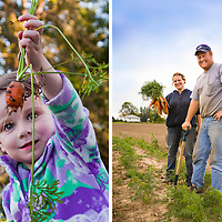 Emilie produly holds up her first harvest from her community garden plot.  |  Ontario farmers Jessie and Ben Sosnicki proudly hold a bunch of their freshly harvested, organic carrots on their farm near Waterford, Ontario.