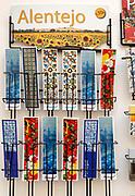 Display rack of souvenir picture bookmarks city of Evora, Alto Alentejo, Portugal