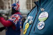 Anti Brexit, Remain demonstrators protest with placards and flags in Westminster on the day after the 'meaningful vote' when MPs again rejected the Prime Minister's Brexit Withdrawal Agreement and before a vote on removing the possibility of a No Deal Brexit on 13th March 2019 in London, England, United Kingdom. With just over two weeks until the UK is supposed to be leaving the European Union, the final result still hangs in the balance.