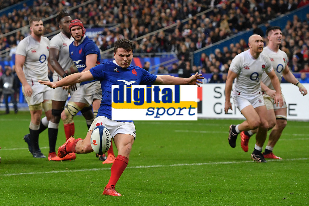 Rugby Union - 2020 Guinness Six Nations Championship - France vs. England<br /> <br /> Frances's Antoine Dupont kicks the ball off the pitch mistakenly thinking it was the end of the game, at The Stade de France, Paris.<br /> <br /> COLORSPORT/ASHLEY WESTERN