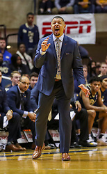 Dec 8, 2018; Morgantown, WV, USA; Pittsburgh Panthers head coach Jeff Capel yells from the bench during the first half against the West Virginia Mountaineers at WVU Coliseum. Mandatory Credit: Ben Queen-USA TODAY Sports