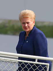 BRATISLAVA, Sept. 17, 2016 (Xinhua) -- Lithuanian President Dalia Grybauskaite arrives at a wharf by the Danube river on the sidelines of an informal European Union (EU) summit in Bratislava, Slovakia, Sept. 16, 2016. EU members on Friday issued a joint declaration, formulating a road map for the bloc to tackle challenges, said Slovak Prime Minister Robert Fico. (Xinhua/Gong Bing) (wtc) (Credit Image: © Gong Bing/Xinhua via ZUMA Wire)