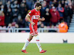 Middlesbrough's George Friend limps off during the FA Cup, third round match at the Riverside Stadium, Middlesbrough.