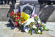 Memorial Plaque of PC Keith Palmer is seen refreshed in flowers outside the House of Commons in central London on Monday, June 22, 2020. He was 48 when he was stabbed while on duty during the Westminster terror attack on 22 March 2017. He was one of five people murdered by Khalid Masood. <br /> Andrew Banks, 28, of Stansted, Essex, said he had drunk 16 pints that day ahead of counter-demonstrations organised by the far-right groups to counter anti-racist protests organised by the Black Lives Matter movement in Britain. Police arrested Banks on suspicion of urinating at the Westminster memorial dedicated to PC Keith Palmer and he was given 14-day jail term for urinating near PC Keith Palmer plaque. (Photo/ Vudi Xhymshiti)