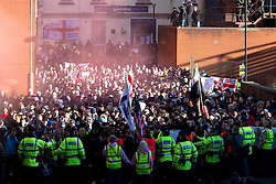 © under license to London News Pictures. 27/11/2010: The English Defence League protest against militant Islam in Preston today (Sat). Police made nine arrests during the protest. Picture credit should read Joel Goodman/LNP