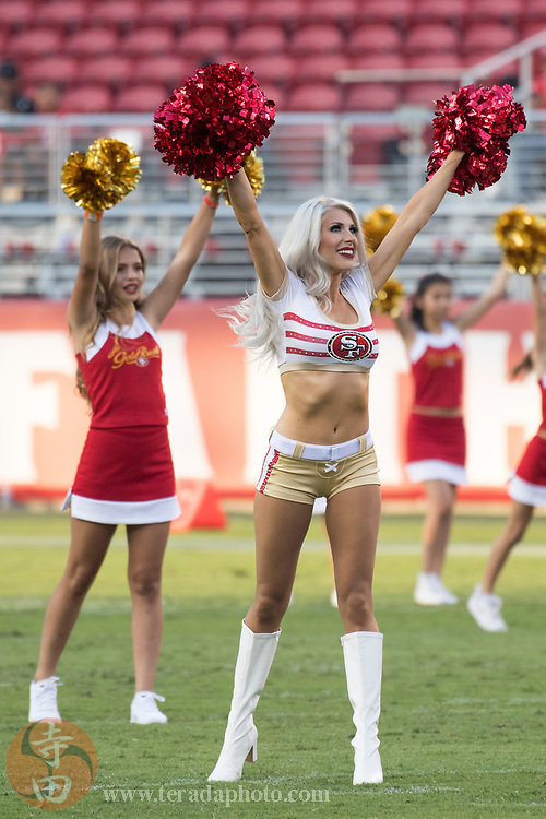 August 31, 2017; Santa Clara, CA, USA; San Francisco 49ers Gold Rush cheerleader Haley M. before the game against the Los Angeles Chargers at Levi's Stadium. The 49ers defeated the Chargers 23-13.