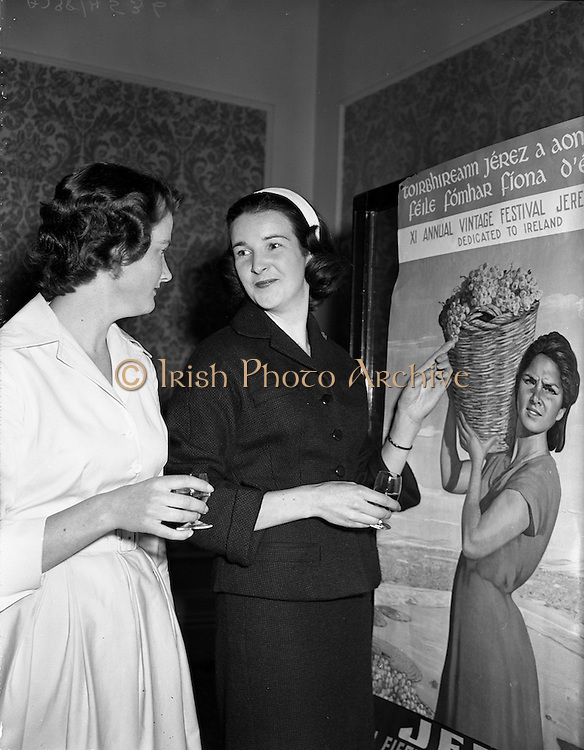 05/09/1958<br /> 09/05/1958<br /> 05 September 1958<br /> Spanish Wine Festival reception at the Hibernian Hotel Dublin. Picture shows the 4 Irish girls selected to attend the festival in Jerez, Spain, as matrons of the festival including 2 from Waterford, Misses Egan and de Bromhead.