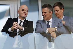 FIFA President Gianni Infantino talks with President of the Icelandic FA Gudni Bergsson during the 2018 FIFA World Cup Russia group D match between Argentina and Iceland at the Spartak Stadium on June 16, 2018 in Moscow, Russia.