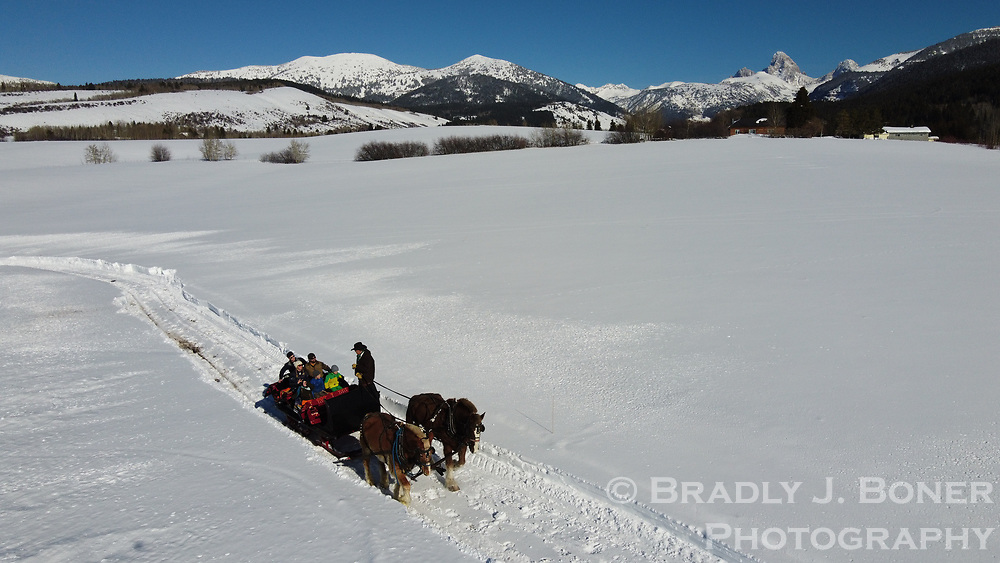 Sleigh rides at the Double Diamond Bar Ranch in Alta, Wyoming.