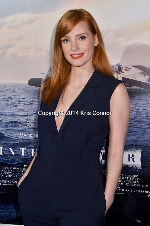 Actress Jessica Chastain walks the red carpet during the DC premiere of Paramount Pictures' INTERSTELLAR at the Lockheed Martin IMAX Theater at the National Air and Space Museum in Washington DC on November 05, 2014. Photo by Kris Connor/Paramount Pictures