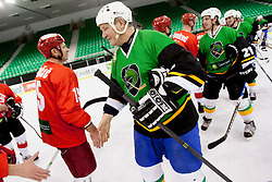 Players during Humanitarian hockey derby of legends between Olimpija and Jesenice, on 7 March 2014, in Hala Tivoli, Ljubljana, Slovenia. Photo by Urban Urbanc / Sportida.com