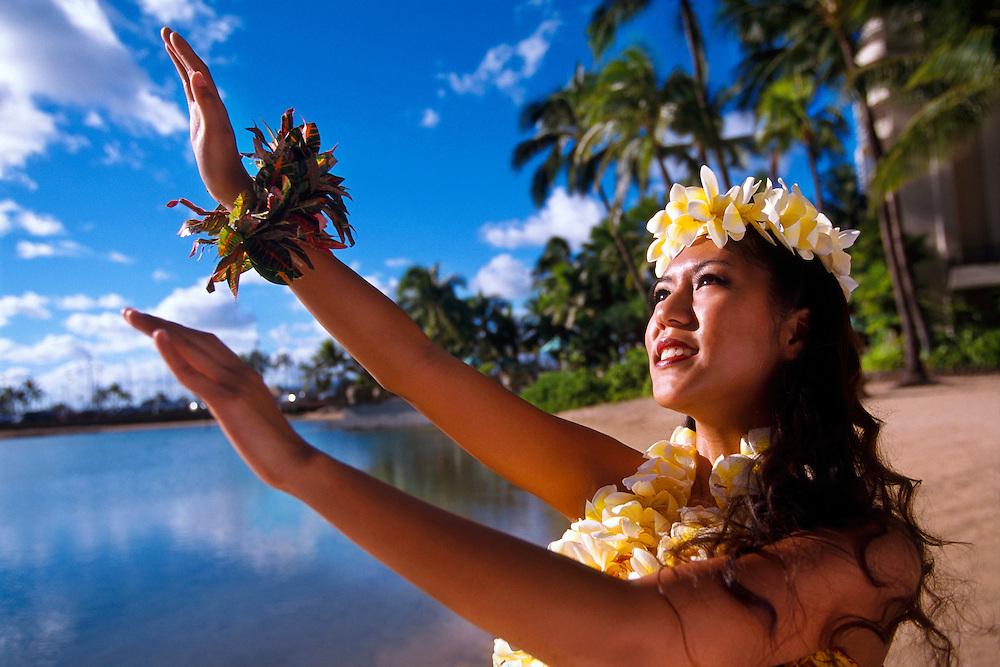 Hula dancer, Waikiki, Honolulu, Oahu, Hawaii USA