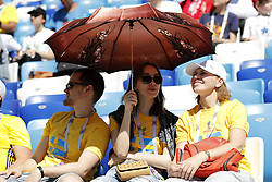 fans hide for the sun during the 2018 FIFA World Cup Russia group F match between Sweden and Korea Republic at the Novgorod stadium on June 18, 2018 in Nizhny Novgorod, Russia
