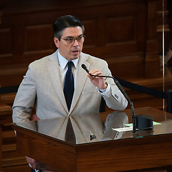 Austin, TX USA March 31, 2021:  State Rep. Chris Paddie, R-Marshall, on the floor of the Texas House of Representatives during routine bill readings at the 87th Texas legislative session. Emergency bills include power company regulation, border security and the coronavirus response.