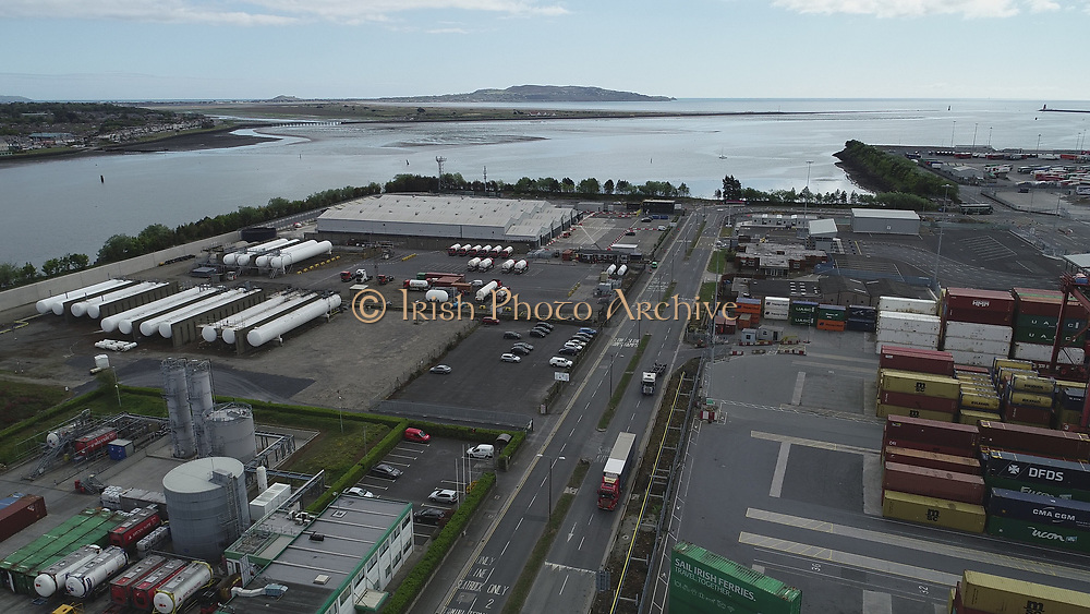 Aerial Still images around Dublin Port during COVID 19 lockdown, Stenna, CLdN, P&O, Cobbelfreight, Tolka Quay, Alexander Rd, Terminal 1,2 ,3, River Liffey, EXO, Building, East Link, Bridge, River Liffey, Samual Beckett Bridge, Capitol Dock, North Quay, Wall, Dublin Bay, Howth,