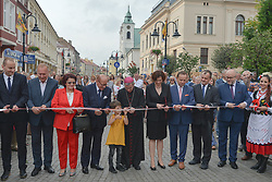 July 21, 2017 - Rzeszow, Poland - The Mayor of Rzeszow, Tadeusz Ferenc and other local politicians cut ruban during the opening ceremony of the renovated 3rd May street in Rzeszow. .On Friday, July 21, 2017, in Rzeszow, Poland. (Credit Image: © Artur Widak/NurPhoto via ZUMA Press)