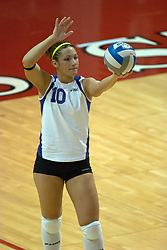 12 November 2006: Patricia Dietz serves. .In the final regular season home game at ISU, the Northern Iowa Panthers defeated the Illinois State Redbirds 3 game to 1. The match took place at Redbird Arena on the campus of Illinois State University in Normal Illinois.