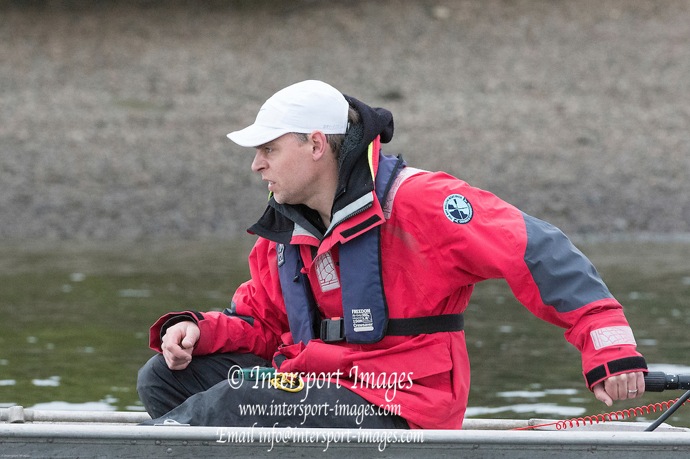London. UNITED KINGDOM.  160th BNY Mellon Boat Race on the Championship Course, River Thames, Putney/Mortlake.  Friday  04/04/2014    [Mandatory Credit. Intersport Images]<br /> <br /> Cambridge University<br /> <br /> Cambridge Chief Coach Steve Trapmore
