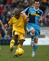 Photo: Tony Oudot.<br />Wycombe Wanderers v Notts County. Coca Cola League 2. 10/02/2007.<br />Jay Smith of Notts County gets a shot in past Matt Bloomfield of Wycombe