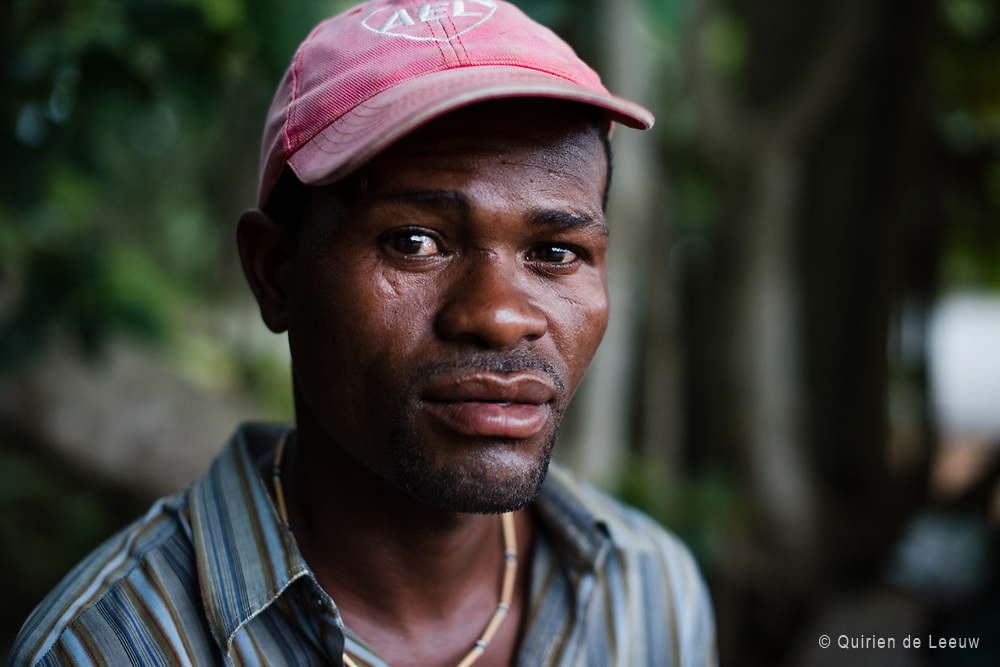 Portrait of man making wooden crafts,  St Lucia