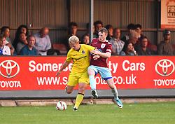 Sam Blake of Bristol Rovers XI battles with a Taunton opponent - Mandatory by-line: Paul Knight/JMP - 18/07/2017 - FOOTBALL - Viridor Stadium - Taunton, England - Taunton Town v Bristol Rovers XI - Pre-season friendly