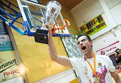 Ivan Drzic of Tajfun celebrates after winning during basketball match between KK Tajfun and KK Rogaska in 4th Round of Final of Slovenian National Basketball Championship 2014/15, on May 28, 2015 in OS Hrusevec, Sentjur pri Celju, Slovenia. KK Tajfun won 3rd time and became Slovenian National Champion 2015. Photo by Vid Ponikvar / Sportida