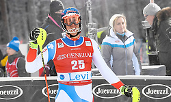 13.11.2016, Black Race Course, Levi, FIN, FIS Weltcup Ski Alpin, Levi, Slalom, Herren, 2. Lauf, im Bild Ramon Zenhaeusern (SUI) // Ramon Zenhaeusern of Switzerland  reacts after his 2nd run of mens Slalom of FIS ski alpine world cup at the Black Race Course in Levi, Finland on 2016/11/13. EXPA Pictures © 2016, PhotoCredit: EXPA/ Nisse Schmidt<br /> <br /> *****ATTENTION - OUT of SWE*****