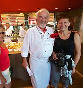 Sylt, Germany. Wenningstedt-Braderup.<br /> Gosch seafood restaurant. Nicole Schmidt and Jürgen Gosch.