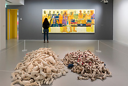 Painting Truck and Workers by Faraj Daham and Cloth carpet and glue by Hassan Sharif at Mathaf: Arab Museum of Modern Art, Doha , Qatar.