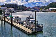 Boats and Rainbow Bridge at La Conner, Washington