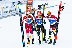 February 22, 2019 - Seefeld In Tirol, AUSTRIA - 190222 Jan Schmid of Norway, Eric Frenzel of Germany and Franz-Josef Rehrl of Austria celebrate as they pose for photographers after the men's nordic combined 10 km Individual Gundersen during the FIS Nordic World Ski Championships on February 22, 2019 in Seefeld in Tirol..Photo: Joel Marklund / BILDBYRÃ…N / kod JM / 87882 (Credit Image: © Joel Marklund/Bildbyran via ZUMA Press)