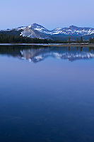Early summer sunset of a flooded Tuolumne meadows, Lembert Dome and Mt Dana, Yosemite national park, California