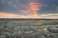Sunrise at Big Badlands Overlook. Badlands National Park South Dakota