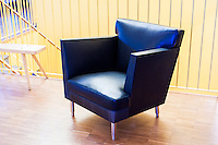 [sic] is a creation of horsehair fabric, brass and leather and is a chair born from the collaboration between final-year students Emil Zetterlund and Josefina Hägg.