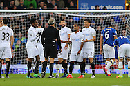 Swansea players complain to Referee Martin Atkinson. Premier league match, Everton v Swansea city at Goodison Park in Liverpool, Merseyside on Saturday 19th November 2016.<br /> pic by Chris Stading, Andrew Orchard sports photography.