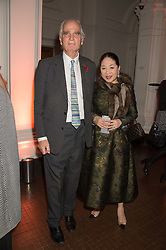 SIR RICHARD CAREW POLE and the DOWAGER, VISCOUNTESS ROTHERMERE at a dinner to celebrate Sir David Tang's 20 year patronage of the Royal Academy of Arts and the start of building work on the Burlington Gardens wing of the Royal Academy held at 6 Burlington Gardens, London on 26th October 2015.